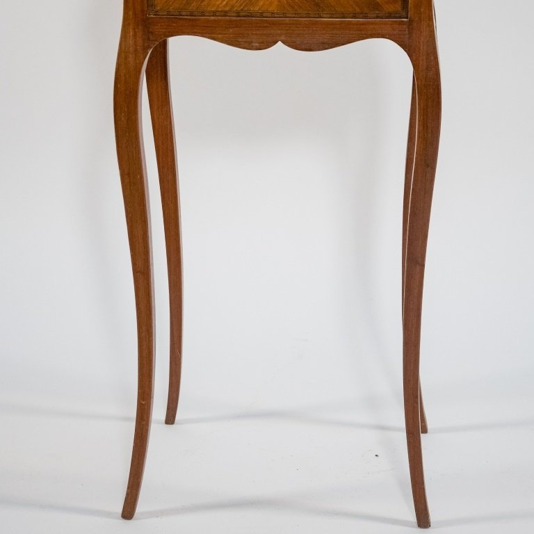 French C.1920 Mahogany Marble Top One Drawer Stand - 3