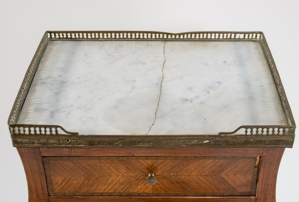 French C.1920 Mahogany Marble Top One Drawer Stand - 4