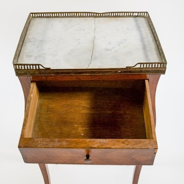 French C.1920 Mahogany Marble Top One Drawer Stand - 7