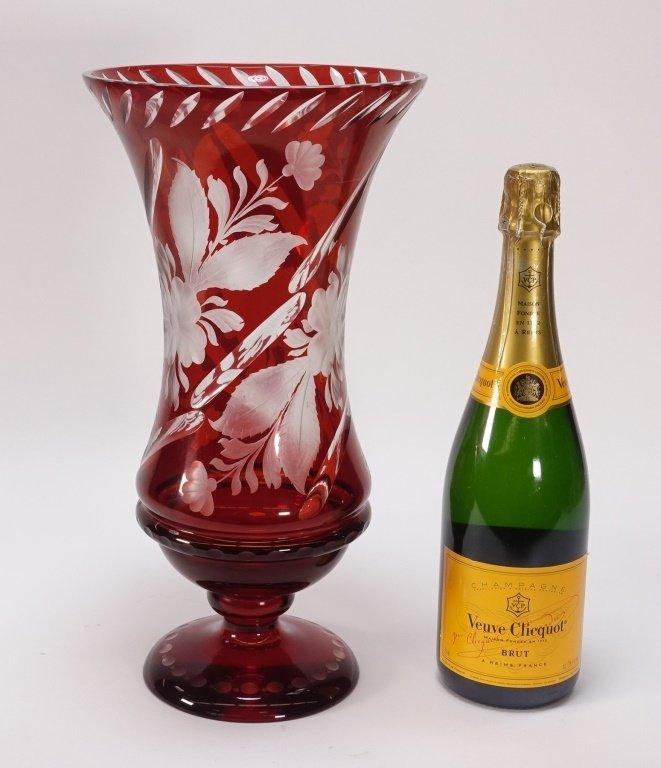 Large Czech Bohemian Ruby Flash Cut Glass Vase - 5