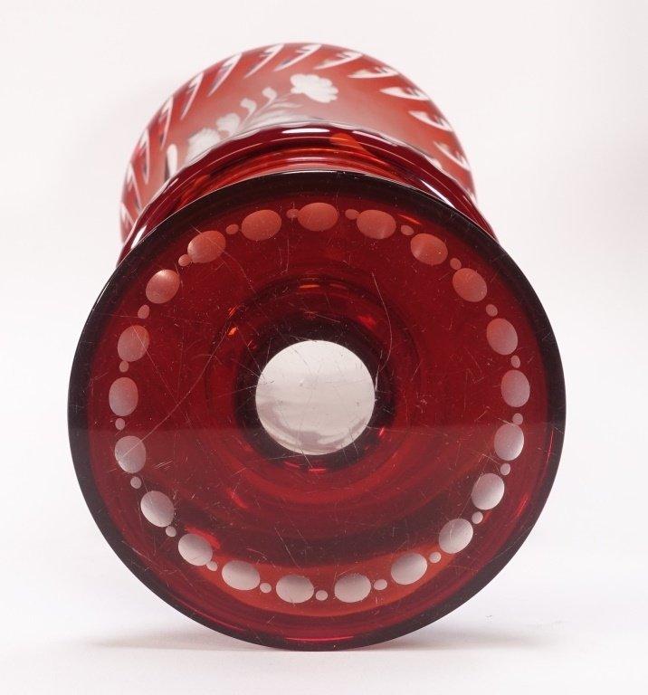 Large Czech Bohemian Ruby Flash Cut Glass Vase - 6