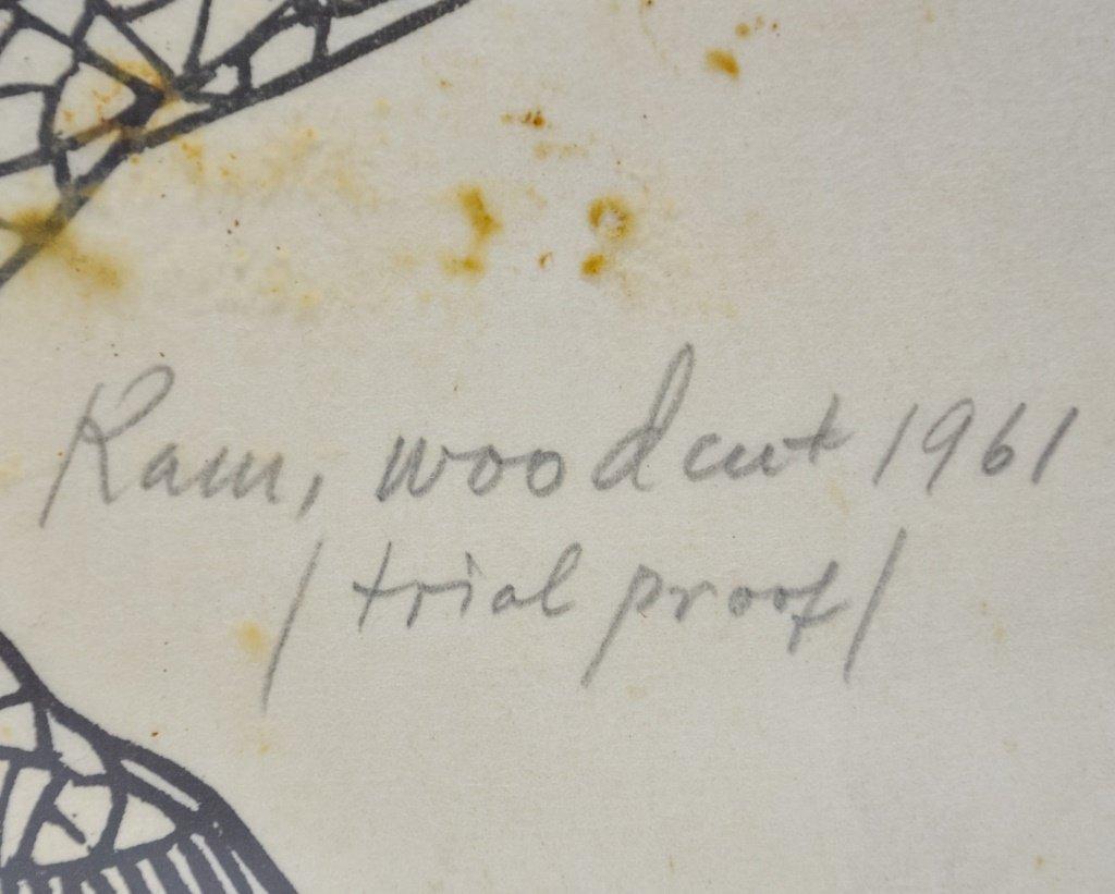 Jacques Hnizdovsky Ram Wood Cut 1961 Proof - 3
