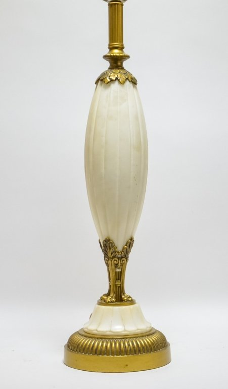 European Bronze and Carved  Alabaster Stone Lamp