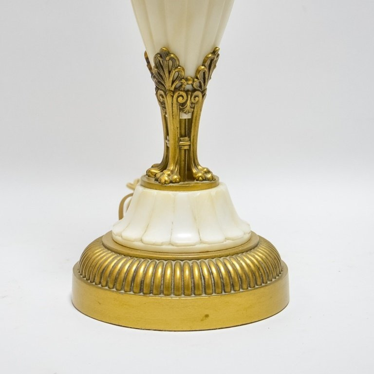 European Bronze and Carved  Alabaster Stone Lamp - 3