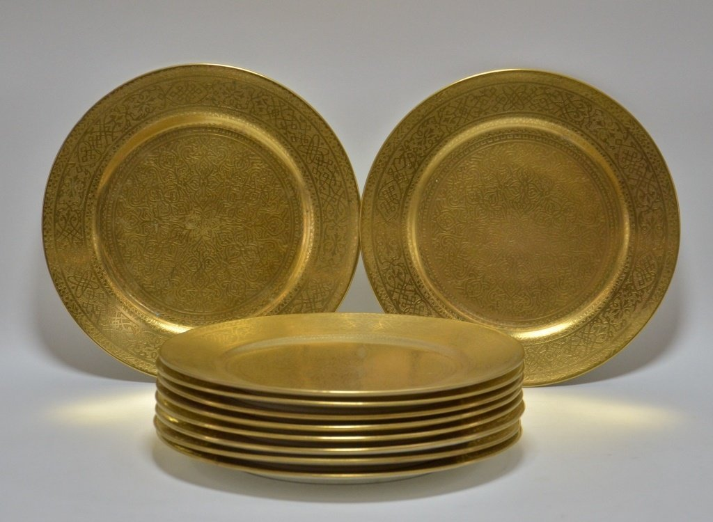 10 English Cauldon Gilt Porcelain Dinner Plates