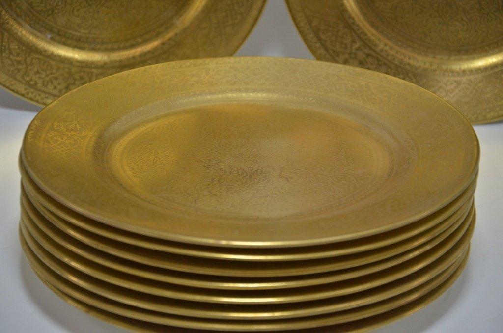 10 English Cauldon Gilt Porcelain Dinner Plates - 2
