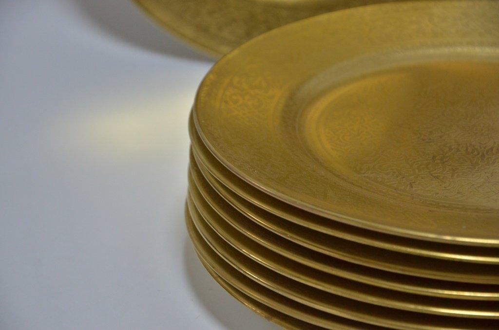 10 English Cauldon Gilt Porcelain Dinner Plates - 3