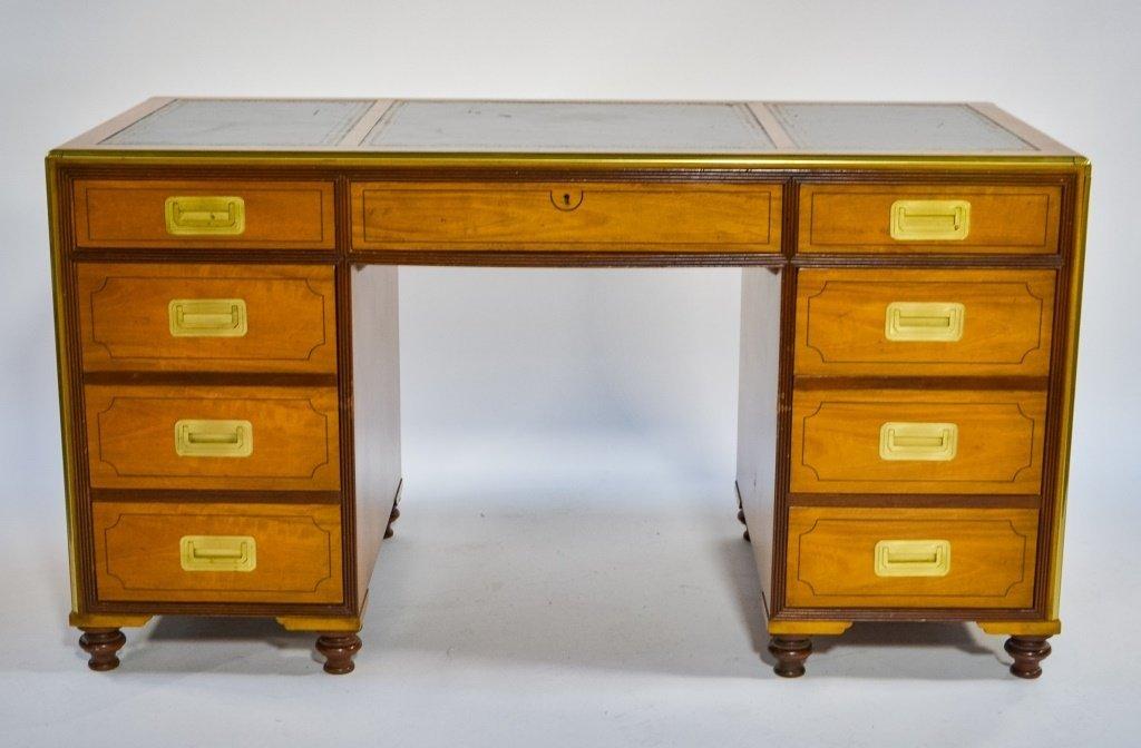 Baker Furniture Campaign Style Bookcase Desk