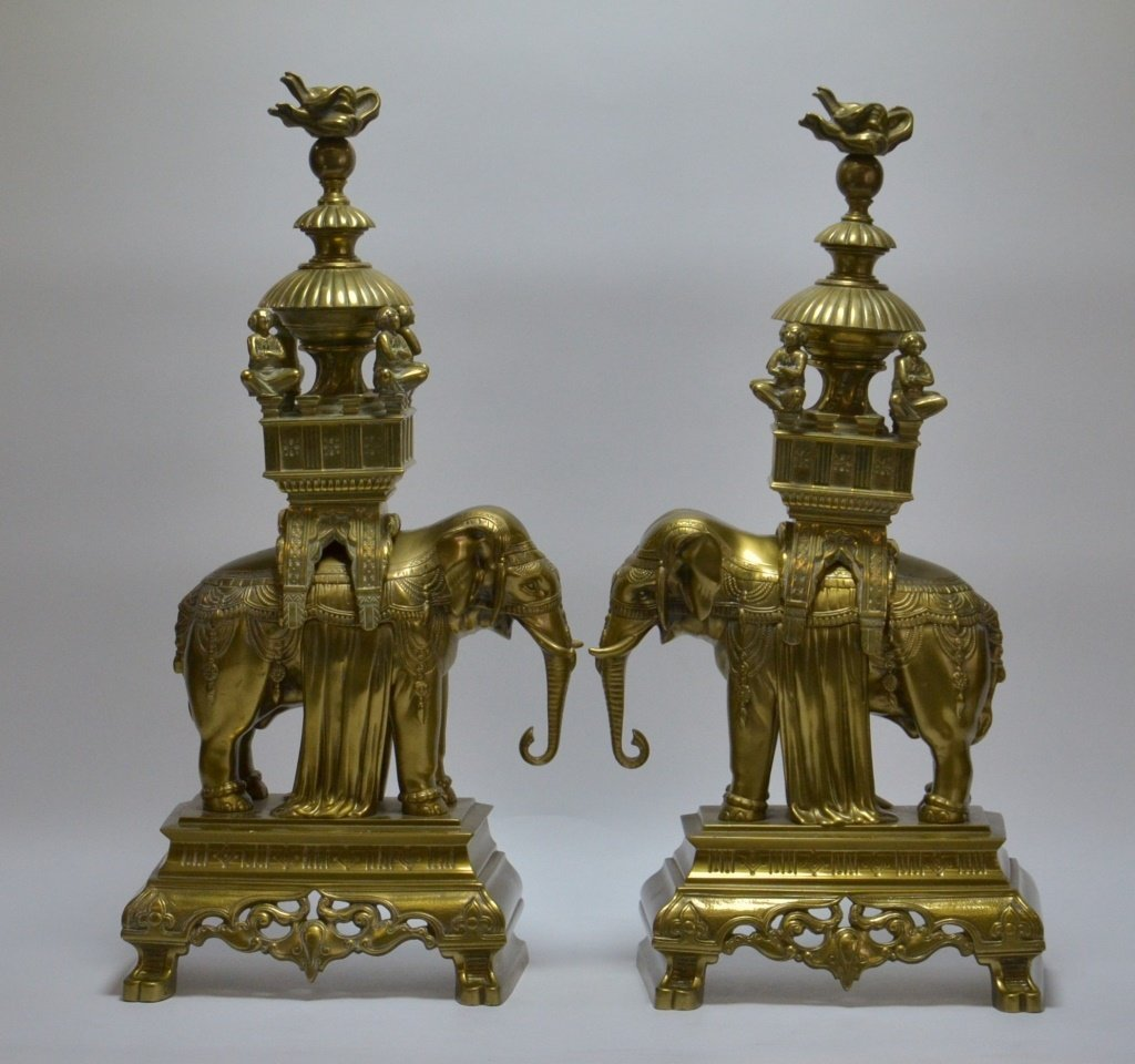 PR. Asian Indian Solid Brass Elephant Andirons