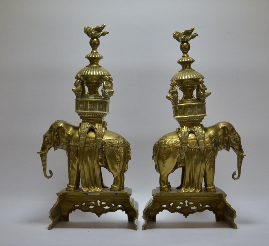 PR. Asian Indian Solid Brass Elephant Andirons - 3