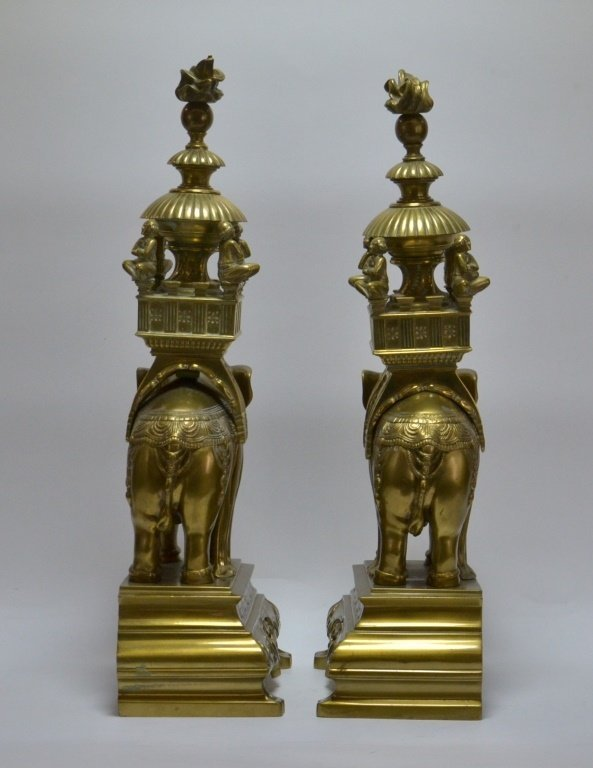 PR. Asian Indian Solid Brass Elephant Andirons - 4