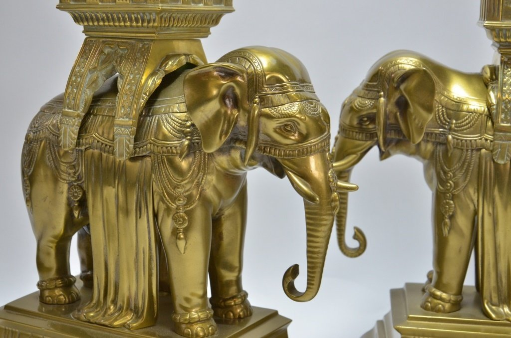 PR. Asian Indian Solid Brass Elephant Andirons - 7