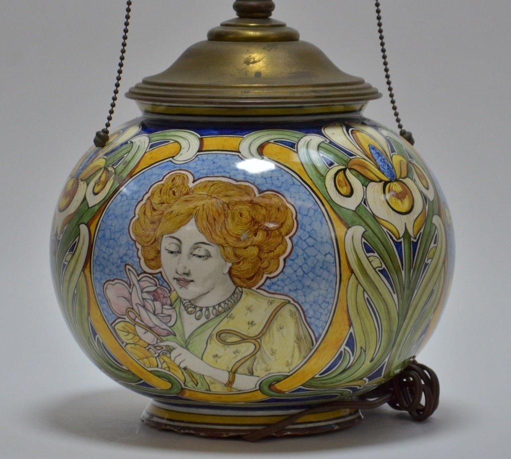 Italian Faience Majolica Pottery Vase Lamp