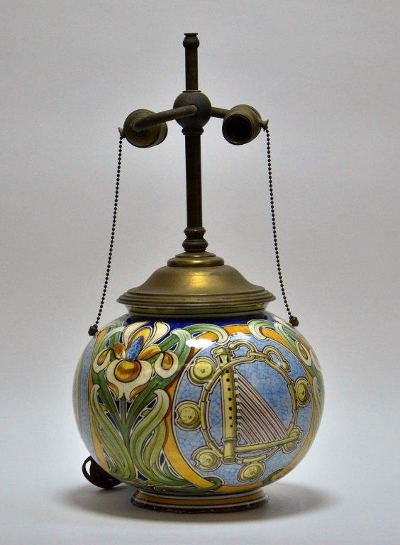 Italian Faience Majolica Pottery Vase Lamp - 2