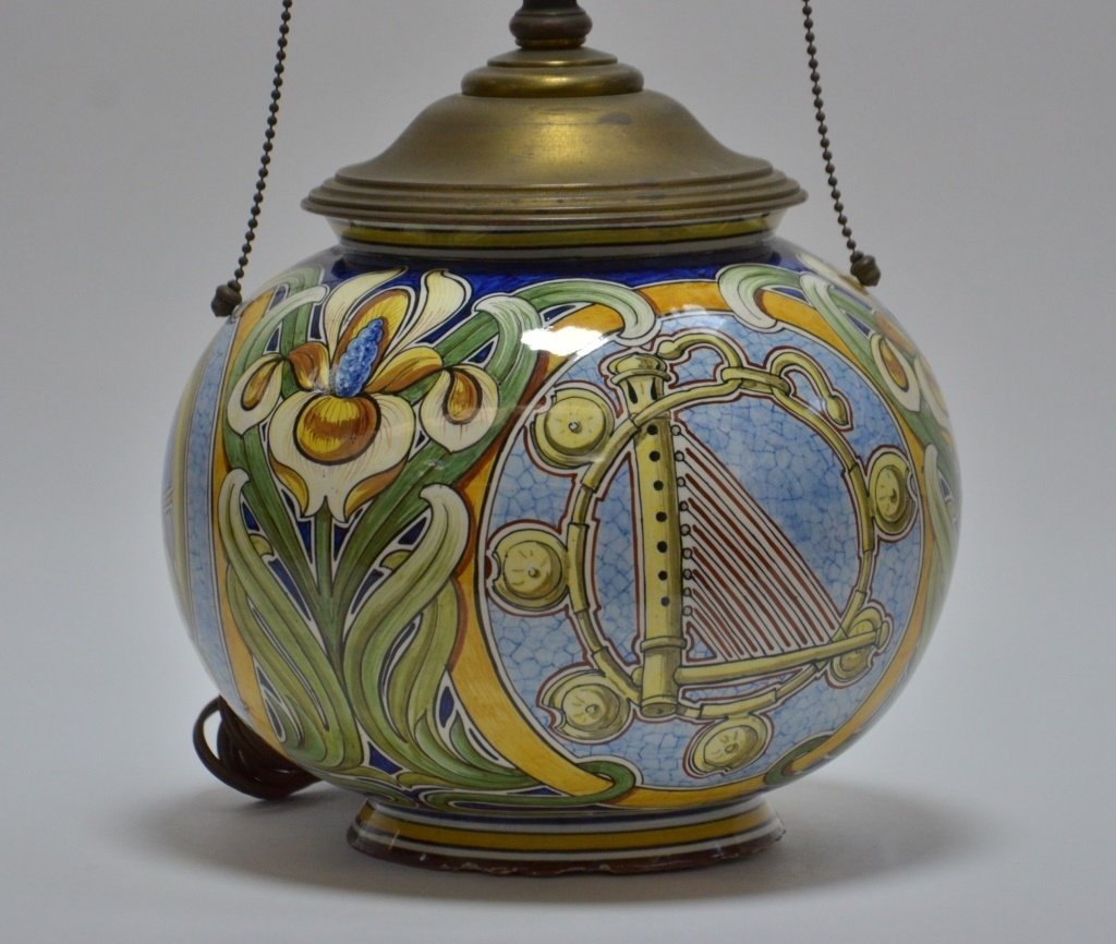 Italian Faience Majolica Pottery Vase Lamp - 3