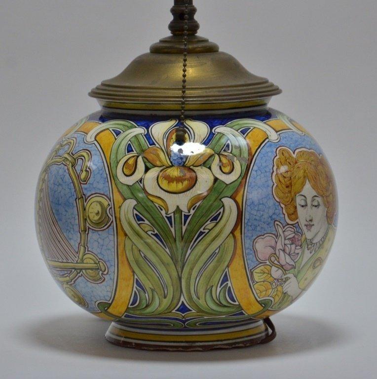 Italian Faience Majolica Pottery Vase Lamp - 4