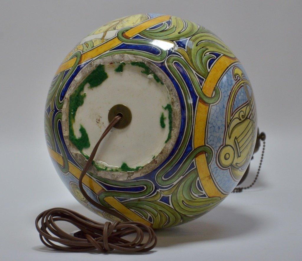 Italian Faience Majolica Pottery Vase Lamp - 6