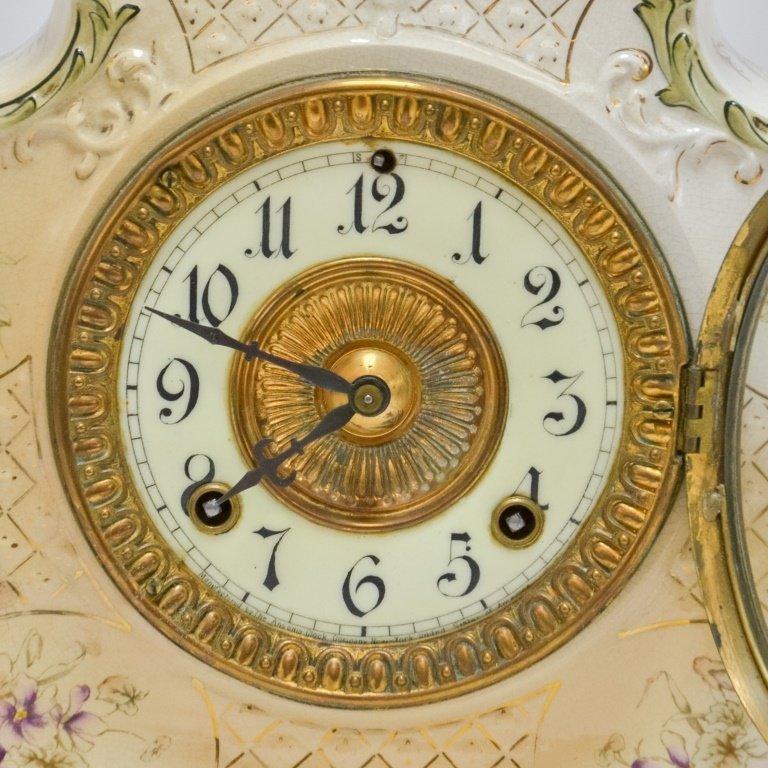 Antique 19C. Ansonia Dresden Porcelain Clock - 2