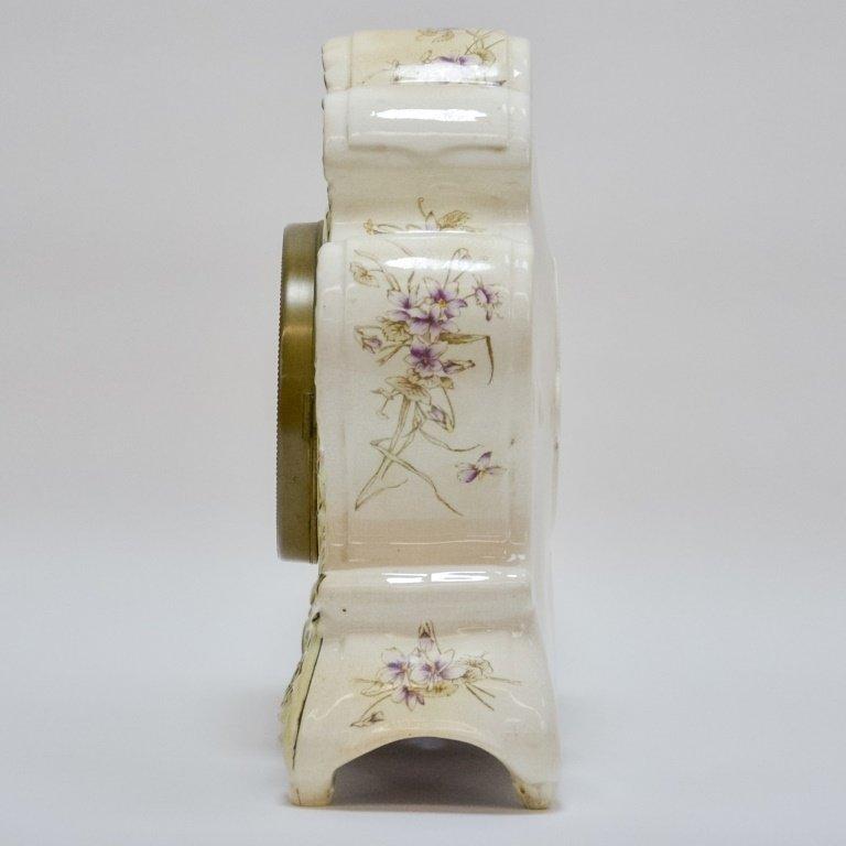 Antique 19C. Ansonia Dresden Porcelain Clock - 3