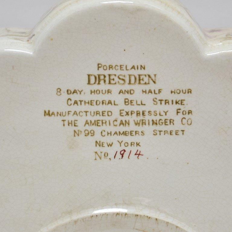 Antique 19C. Ansonia Dresden Porcelain Clock - 5