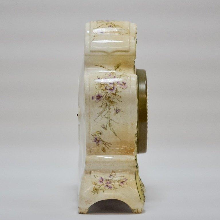 Antique 19C. Ansonia Dresden Porcelain Clock - 7