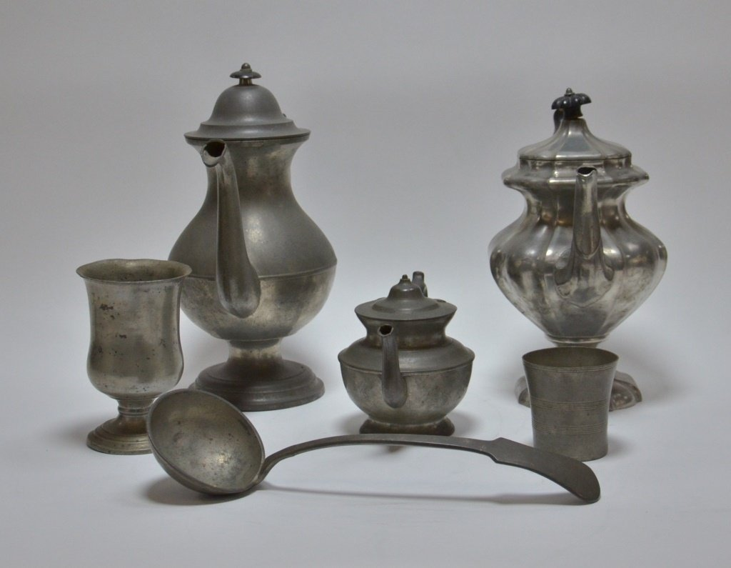 6 American Pewter Teapot Goblet Cup Spoon Lot - 2