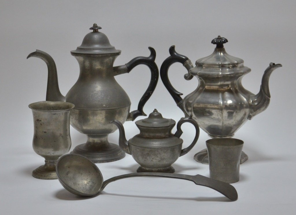 6 American Pewter Teapot Goblet Cup Spoon Lot - 3