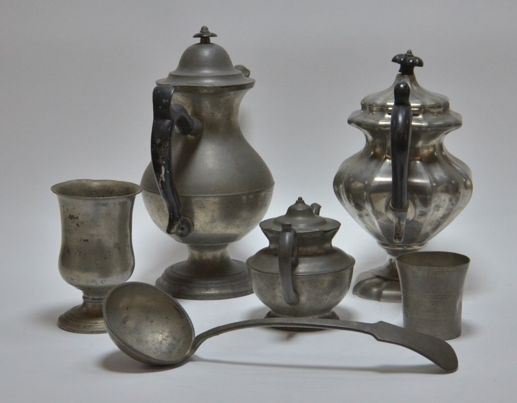 6 American Pewter Teapot Goblet Cup Spoon Lot - 4