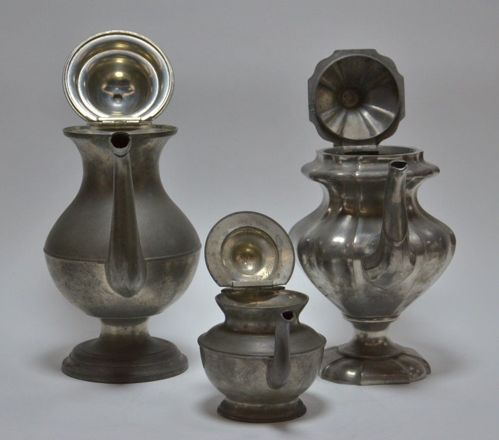 6 American Pewter Teapot Goblet Cup Spoon Lot - 5
