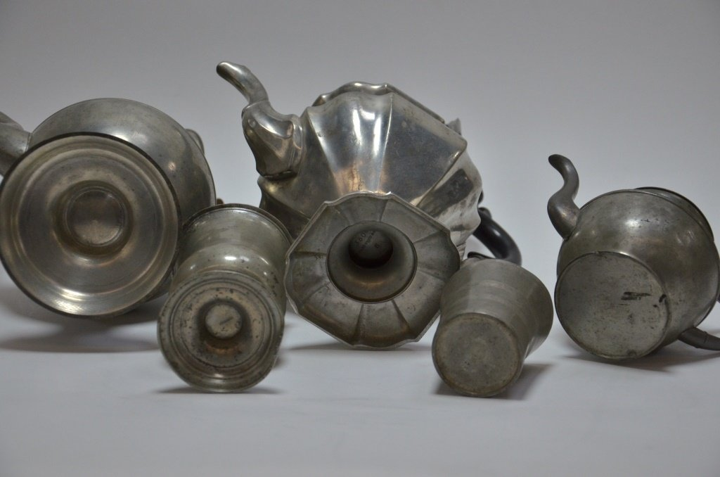 6 American Pewter Teapot Goblet Cup Spoon Lot - 6