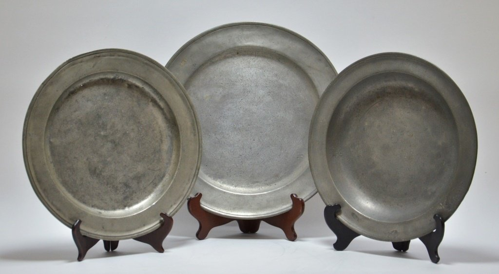 3 American Pewter Chargers Newport RI D. Melville