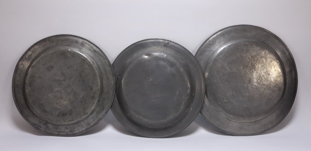 3 American Pewter Chargers Newport RI D. Melville - 2