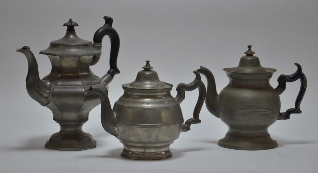 3 American Boston Roswell Gleason Pewter Teapots
