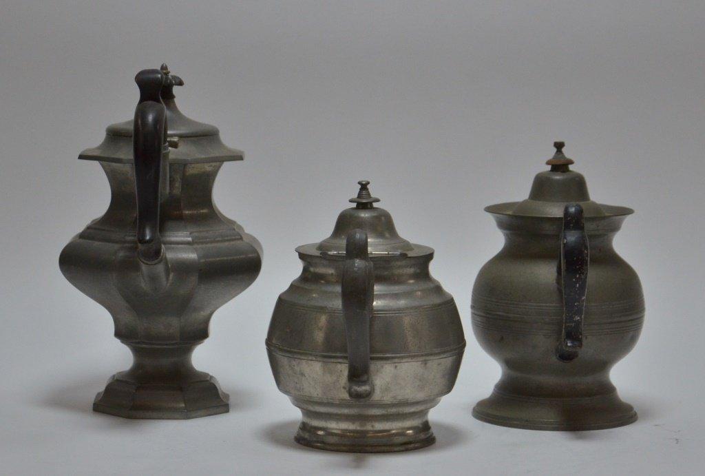 3 American Boston Roswell Gleason Pewter Teapots - 2