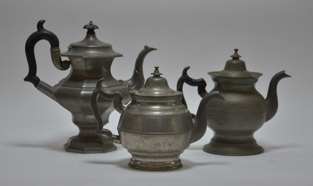 3 American Boston Roswell Gleason Pewter Teapots - 3