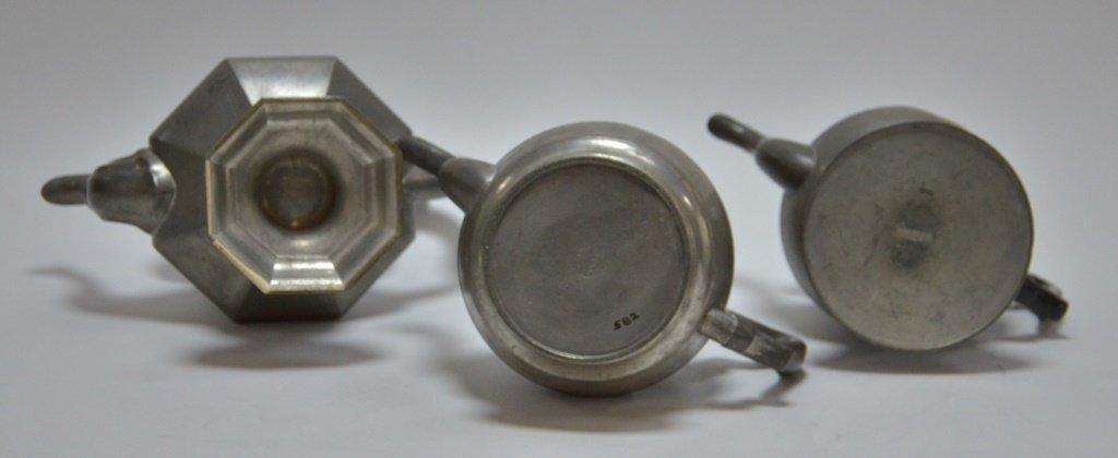 3 American Boston Roswell Gleason Pewter Teapots - 5