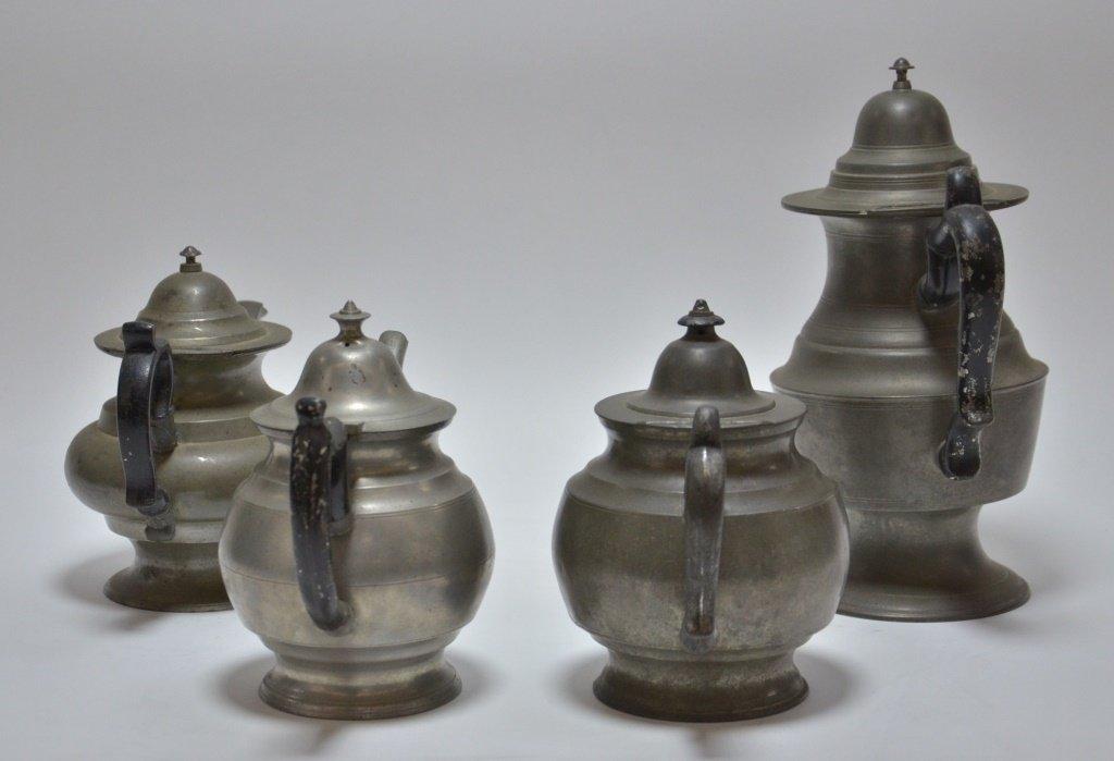 4 American Pewter Teapots Boardman Porter Dunham - 2
