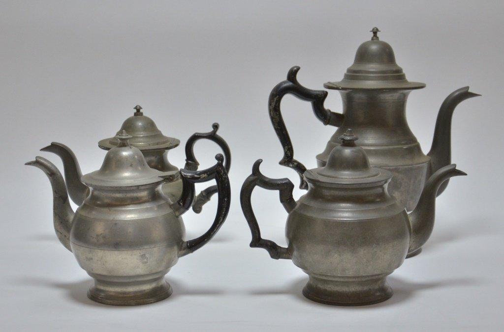 4 American Pewter Teapots Boardman Porter Dunham - 3
