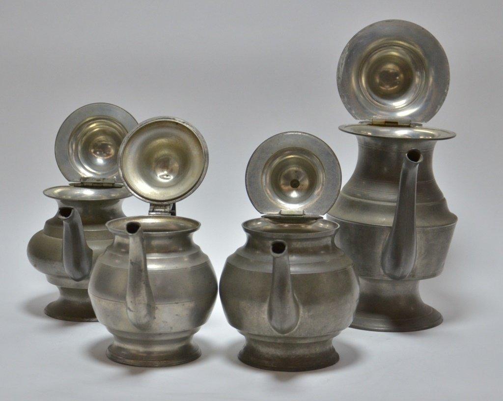 4 American Pewter Teapots Boardman Porter Dunham - 4