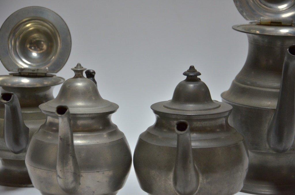 4 American Pewter Teapots Boardman Porter Dunham - 5