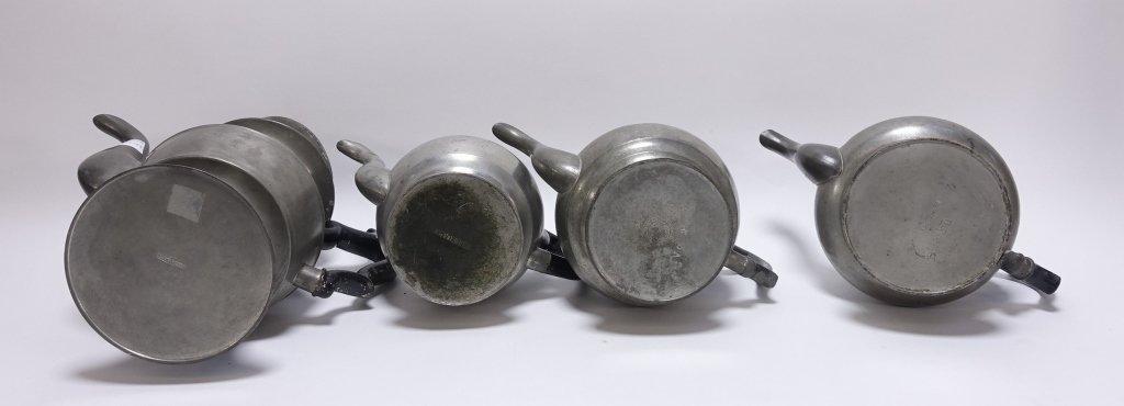 4 American Pewter Teapots Boardman Porter Dunham - 6