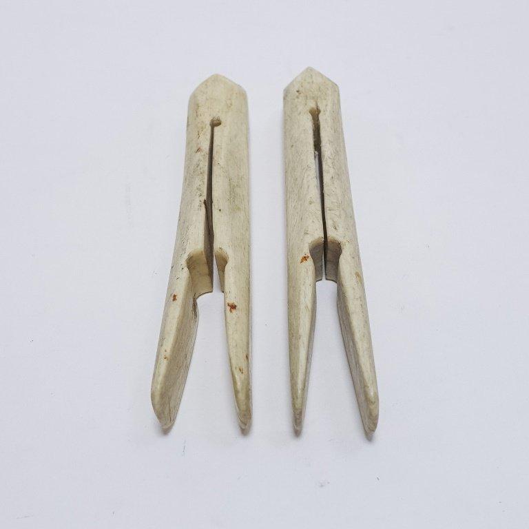 Pr. Large 19C. Sailor Made Scrimshaw Clothes Pins - 4