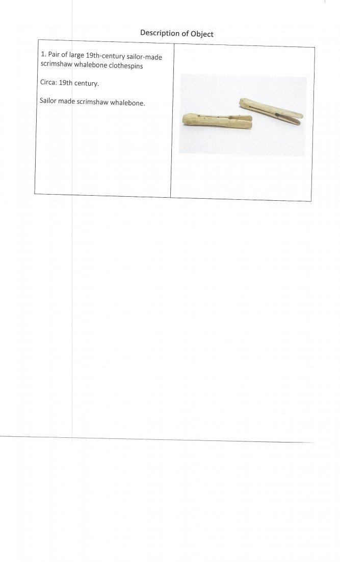 Pr. Large 19C. Sailor Made Scrimshaw Clothes Pins - 7
