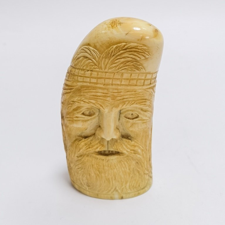 Antique Carved Sailor Made Bearded Man Whale Tooth