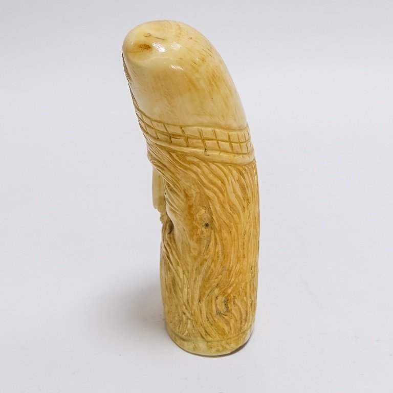 Antique Carved Sailor Made Bearded Man Whale Tooth - 2