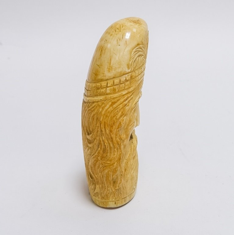 Antique Carved Sailor Made Bearded Man Whale Tooth - 4