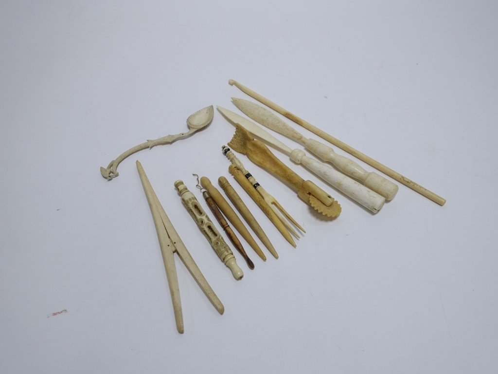 12 Whale Bone Carvings Bodkins Crimper Stretcher - 2