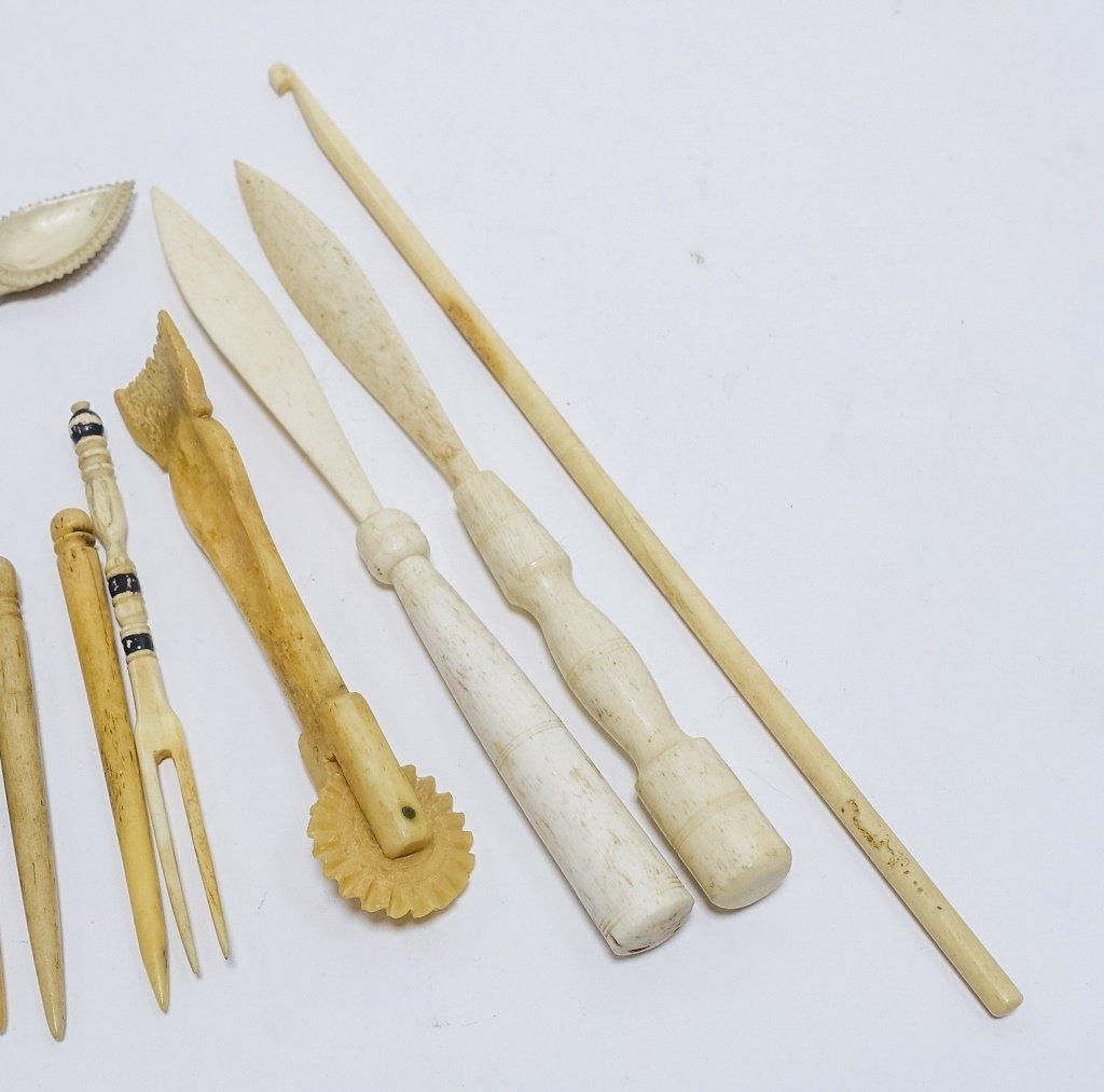 12 Whale Bone Carvings Bodkins Crimper Stretcher - 6