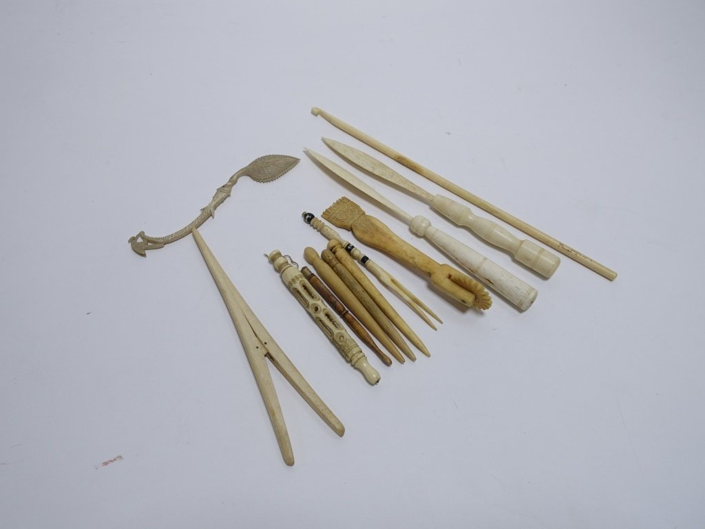 12 Whale Bone Carvings Bodkins Crimper Stretcher - 7