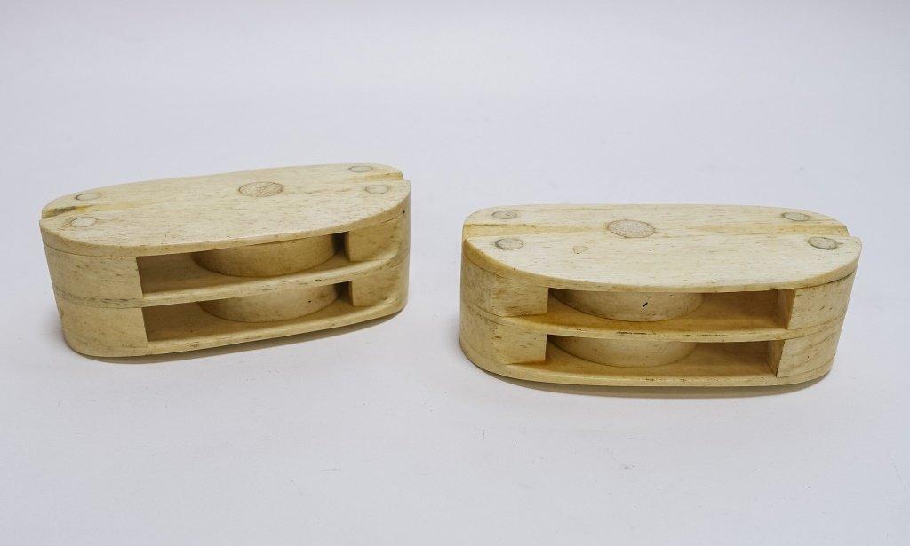 Pr. Scrimshaw Whalebone Sailor Made Double Blocks